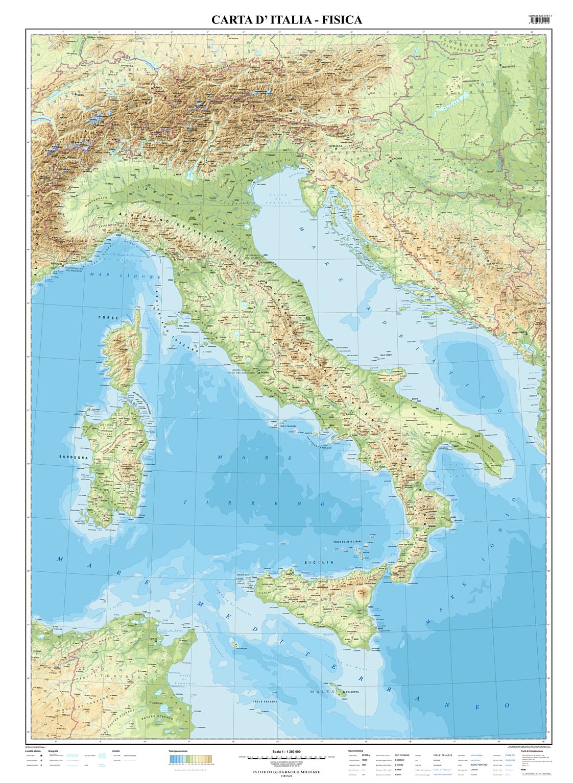 Cartina Dellitalia In Scala.Fisica Carta Italia Fisica Scala 1 1 250 000 Raster Carta D Italia Igm E Commerce Site