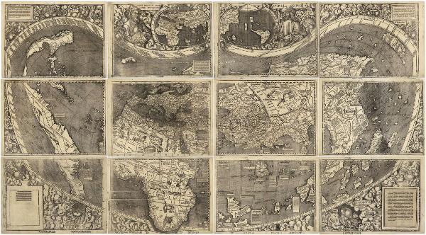 Il grande planisfero palliografico è stato stampato a Saint-Dié-des-Vosges nel 1507 da Martin Waldseemüller